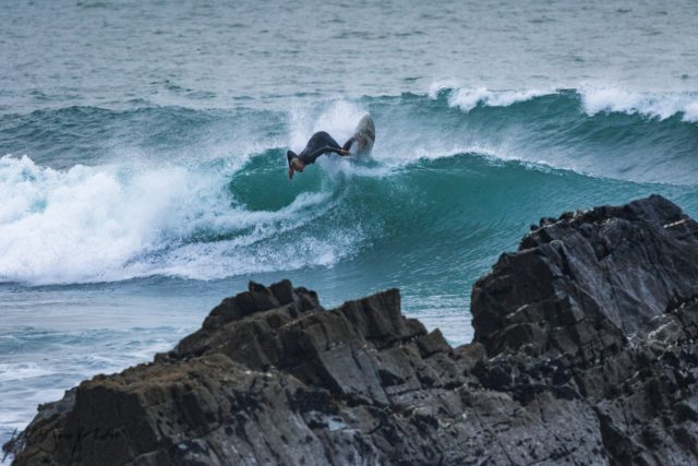 surfer sandy mouth beach Bude
